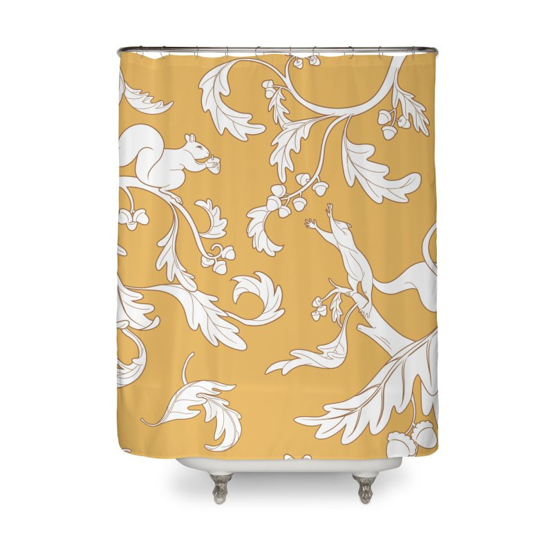 Squirrels and Acorns Ochre Home Shower Curtain by Rina Rozsas's Artist Shop