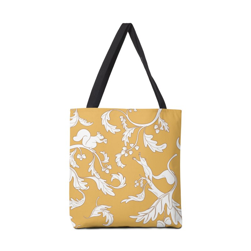 Squirrels and Acorns Ochre Accessories Bag by Rina Rozsas's Artist Shop