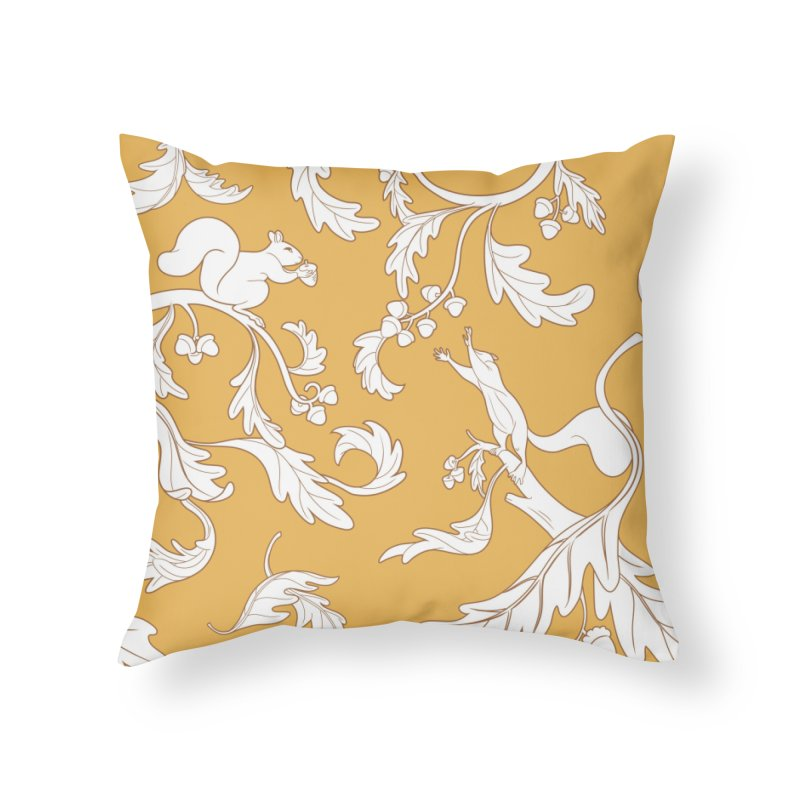 Squirrels and Acorns Ochre Home Throw Pillow by Rina Rozsas's Artist Shop