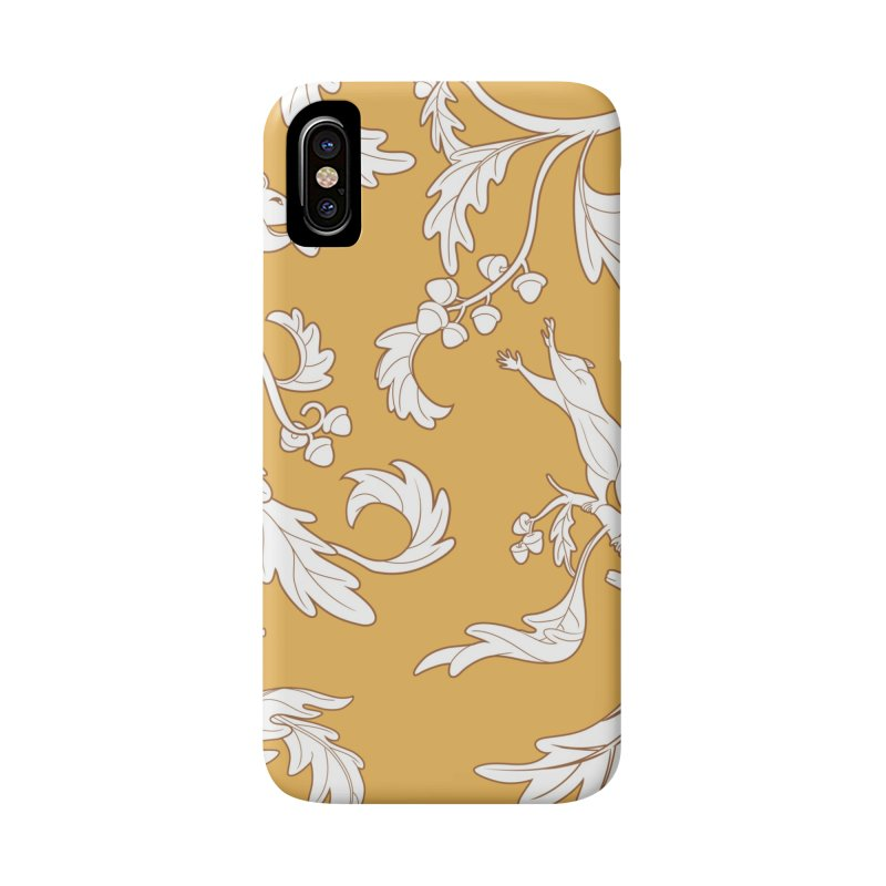 Squirrels and Acorns Ochre Accessories Phone Case by Rina Rozsas's Artist Shop