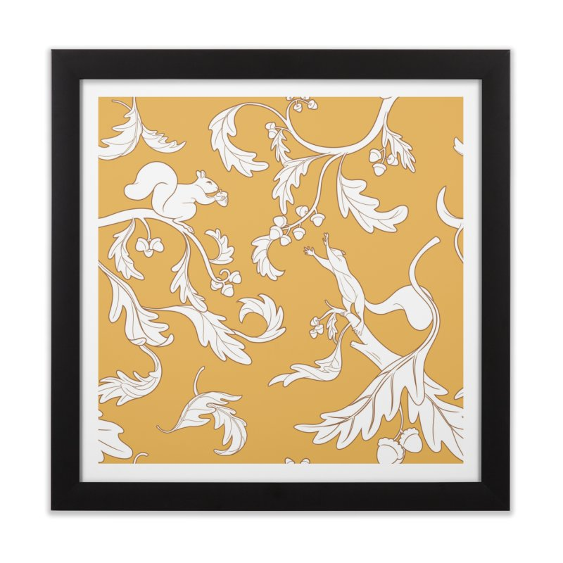 Squirrels and Acorns Ochre Home Framed Fine Art Print by Rina Rozsas's Artist Shop