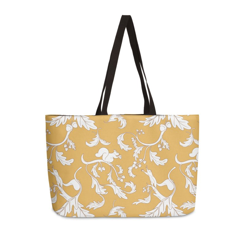 Squirrels and Acorns Ochre Accessories Weekender Bag Bag by Rina Rozsas's Artist Shop
