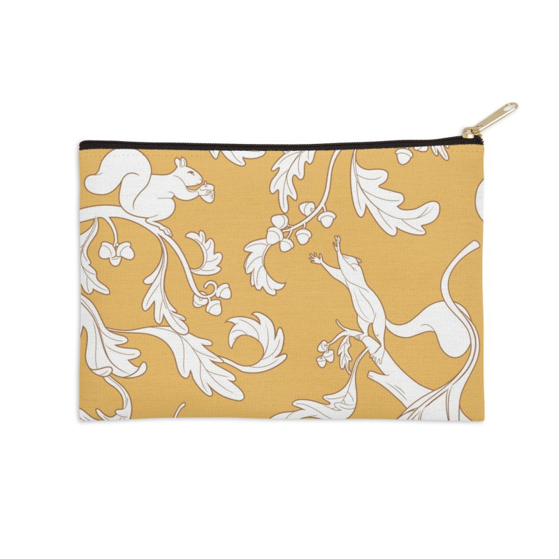 Squirrels and Acorns Ochre Accessories Zip Pouch by Rina Rozsas's Artist Shop