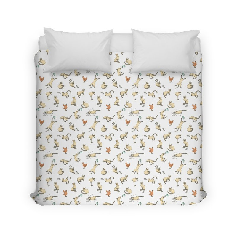 Cat Life Home Duvet by Rina Rozsas's Artist Shop