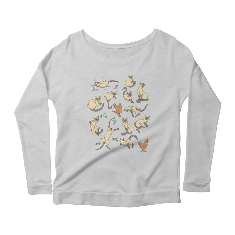Cat Life Women's Scoop Neck Longsleeve T-Shirt by Rina Rozsas's Artist Shop