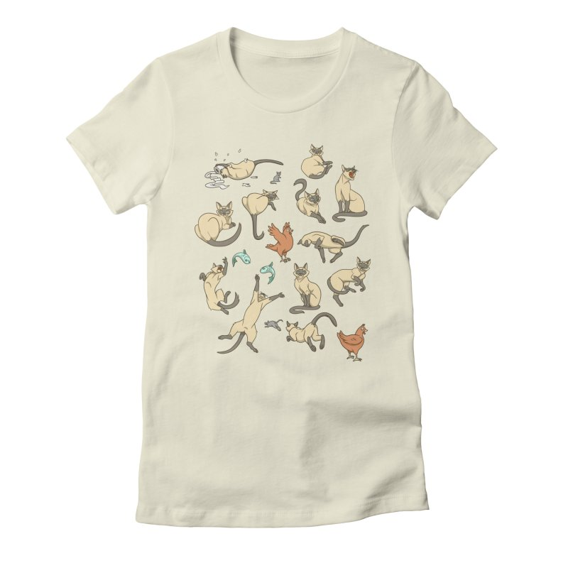 Cat Life Women's Fitted T-Shirt by Rina Rozsas's Artist Shop