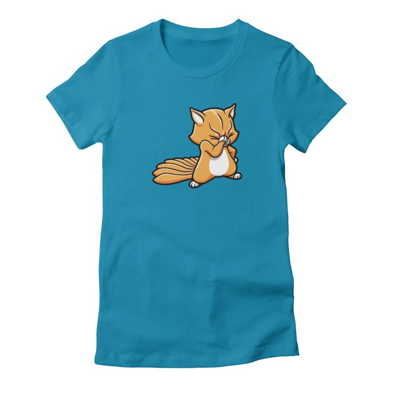 Face Palm in Women's Fitted T-Shirt Turquoise by Rina Rozsas's Artist Shop