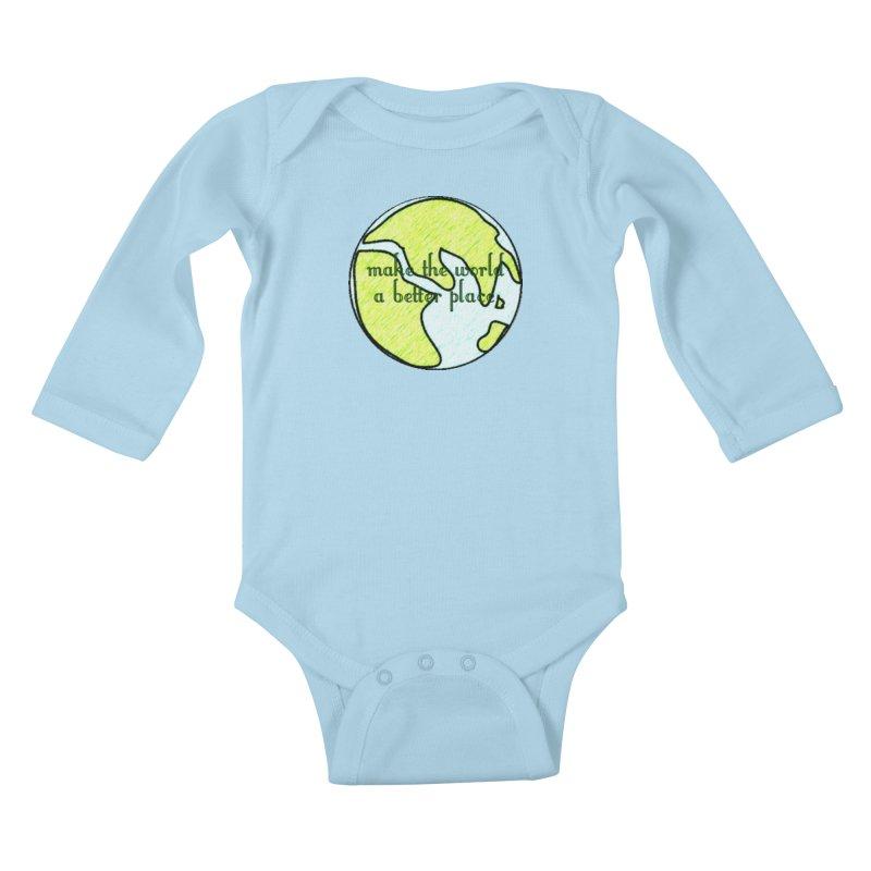 The World a Better Place Kids Baby Longsleeve Bodysuit by riverofchi's Artist Shop
