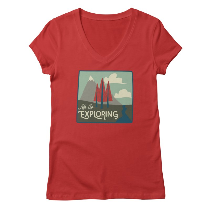 Let's Go Exploring Women's Regular V-Neck by River Trail Supply Company