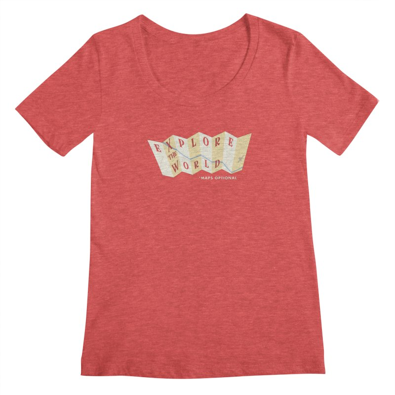 Explore the World - Maps Optional Women's Scoopneck by River Trail Supply Company