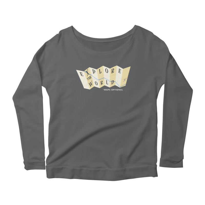 Explore the World - Maps Optional Women's Longsleeve Scoopneck  by River Trail Supply Company