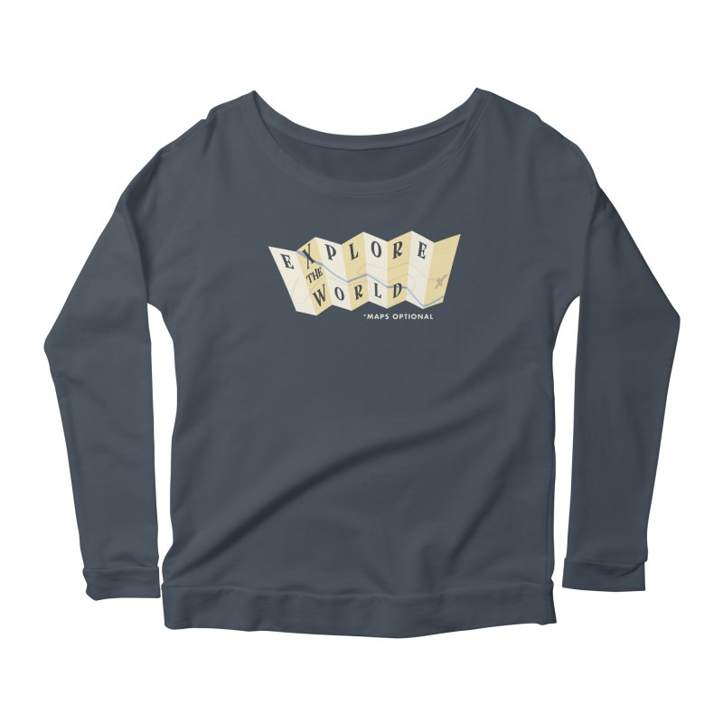 Explore the World - Maps Optional Women's Scoop Neck Longsleeve T-Shirt by River Trail Supply Company