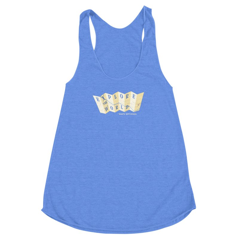 Explore the World - Maps Optional Women's Racerback Triblend Tank by River Trail Supply Company