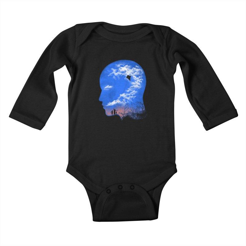 Flying Kite Kids Baby Longsleeve Bodysuit by Arrivesatten Artist Shop
