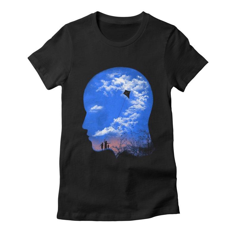 Flying Kite Women's Fitted T-Shirt by Arrivesatten Artist Shop