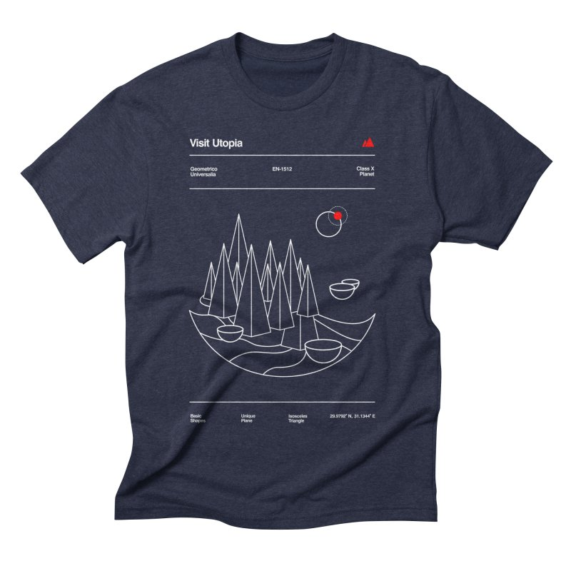 Visit Utopia in Men's Triblend T-shirt Navy by Arrivesatten Artist Shop