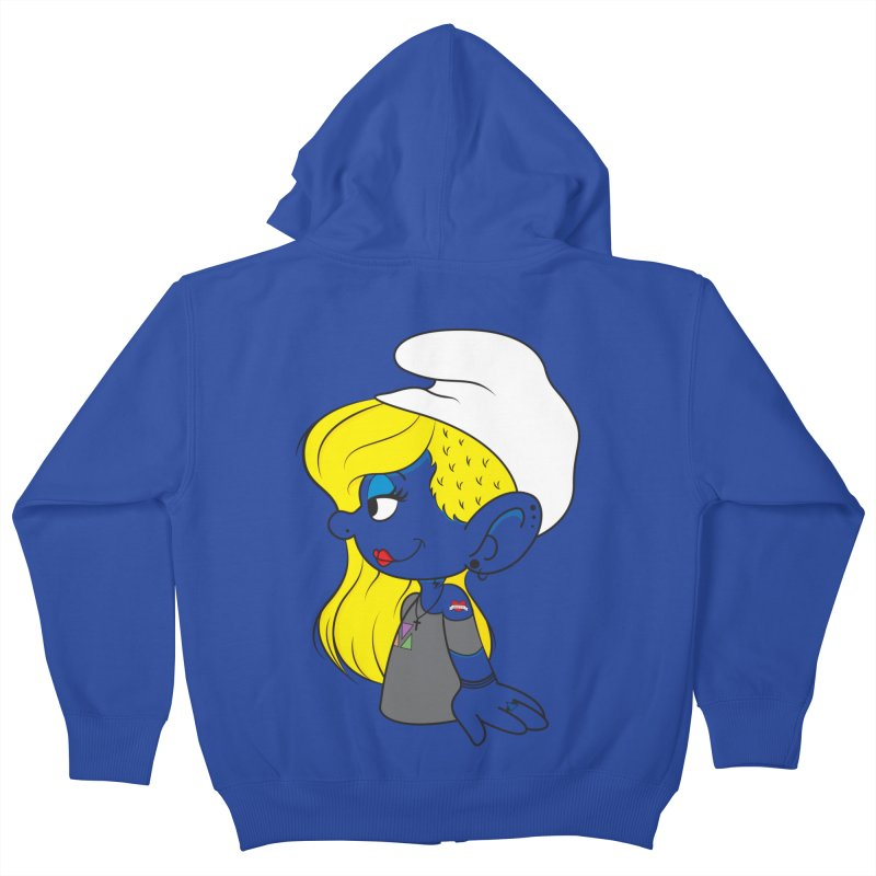 Hipster Smurfette Kids Zip-Up Hoody by Rizzofied