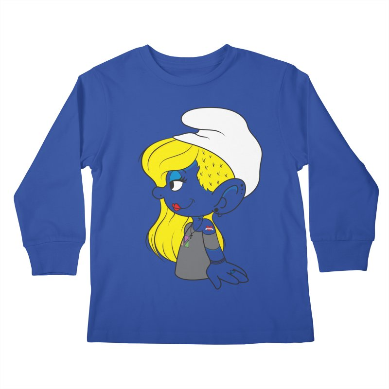 Hipster Smurfette Kids Longsleeve T-Shirt by Rizzofied