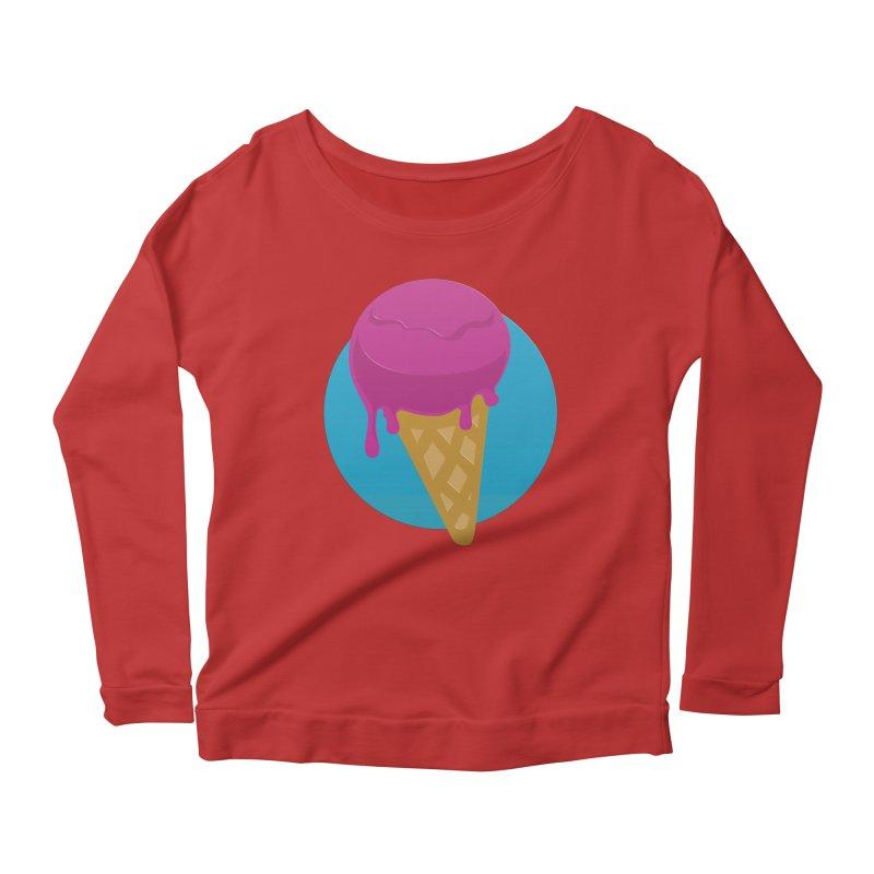 Ice Cream Cone Women's Longsleeve Scoopneck  by Rizzofied