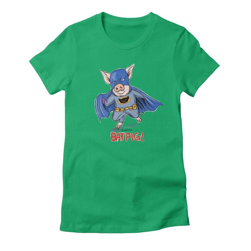 BatPig Women's Fitted T-Shirt by Pigment World Artist Shop