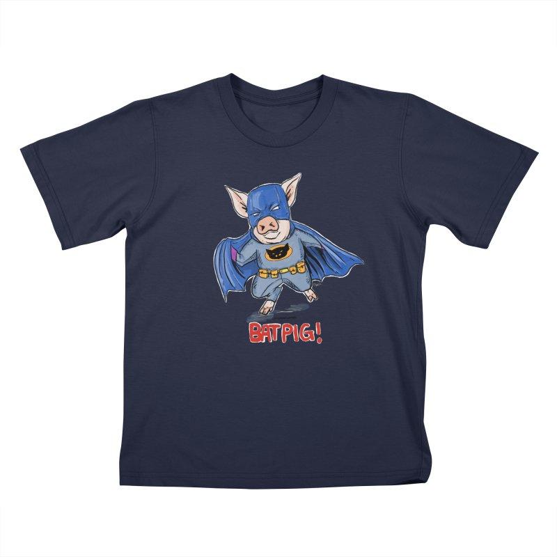 BatPig Kids T-Shirt by Pigment World Artist Shop