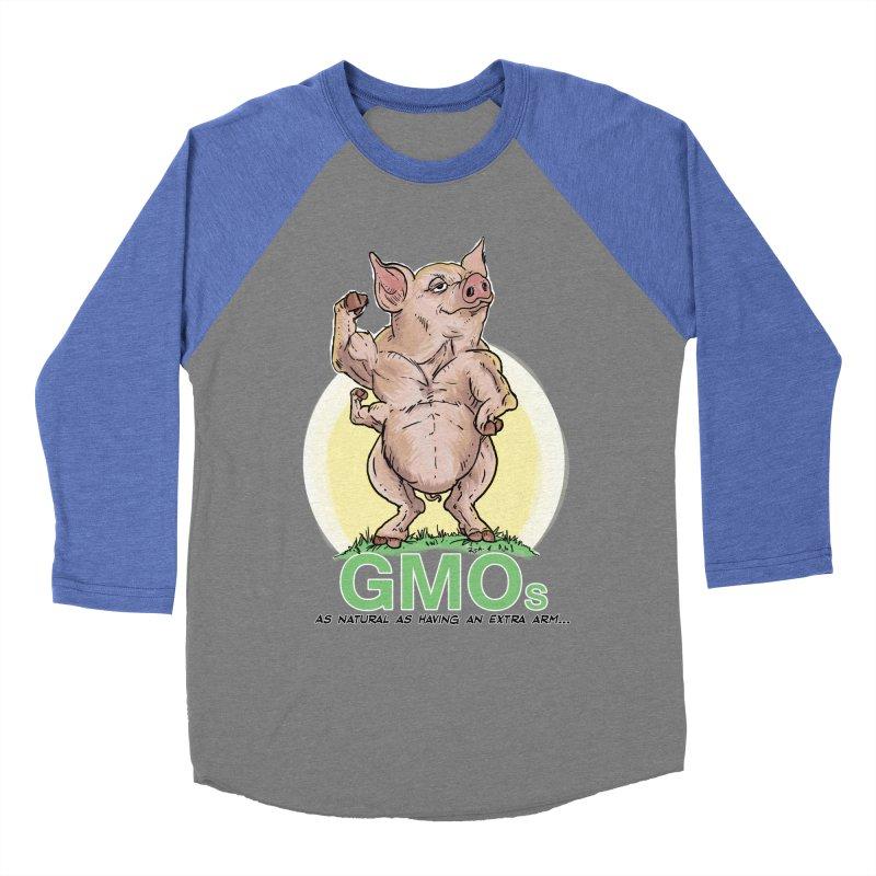 GMO Pig Men's Baseball Triblend Longsleeve T-Shirt by Pigment World Artist Shop