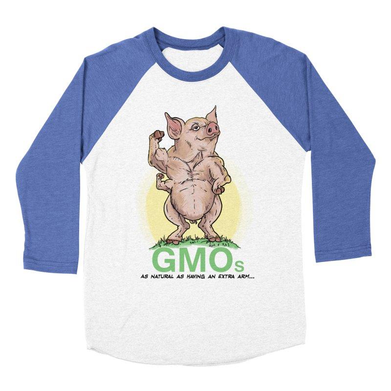 GMO Pig Men's Baseball Triblend T-Shirt by rjamadoart's Artist Shop