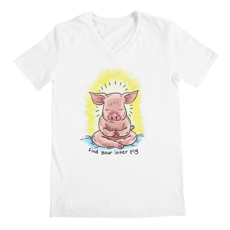 Inner Pig (color 2) Men's V-Neck by Pigment World Artist Shop
