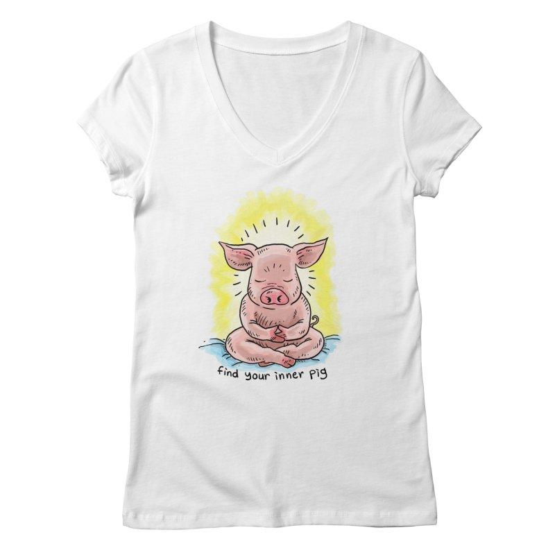 Inner Pig (color 2) Women's V-Neck by Pigment World Artist Shop