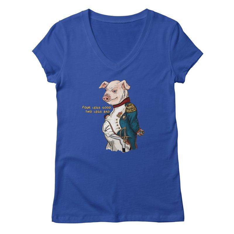 Napoleon Pig Women's V-Neck by rjamadoart's Artist Shop