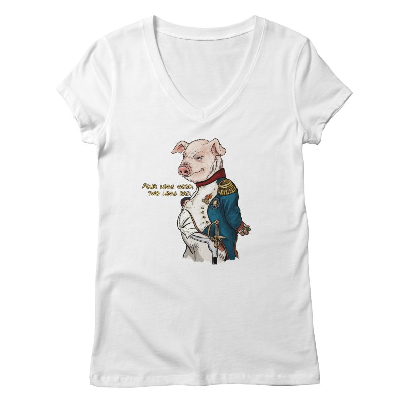 Napoleon Pig Women's Regular V-Neck by Pigment World Artist Shop