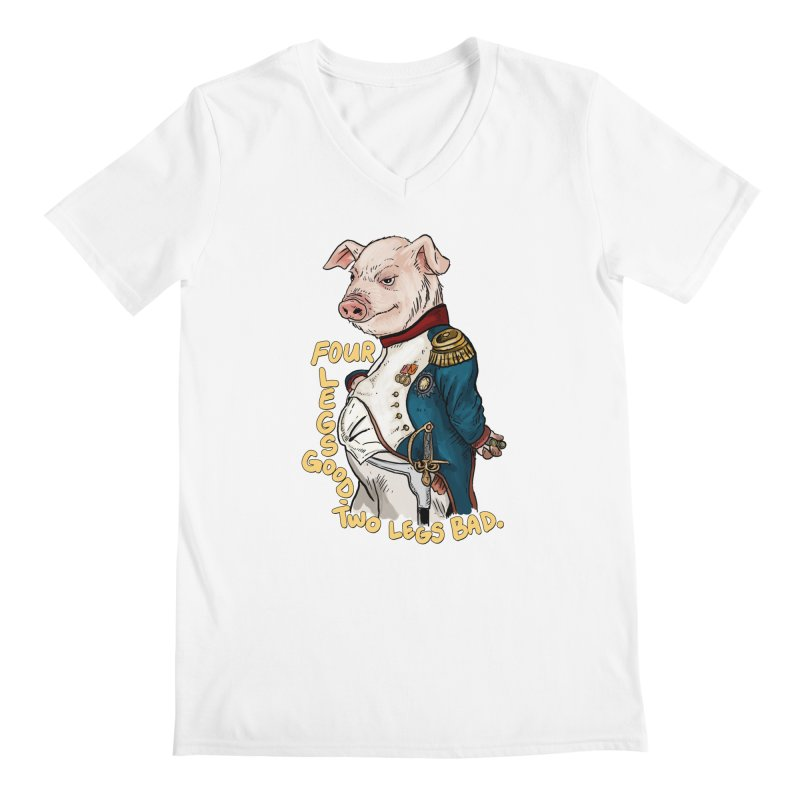 Napoleon Pig Men's V-Neck by Pigment World Artist Shop