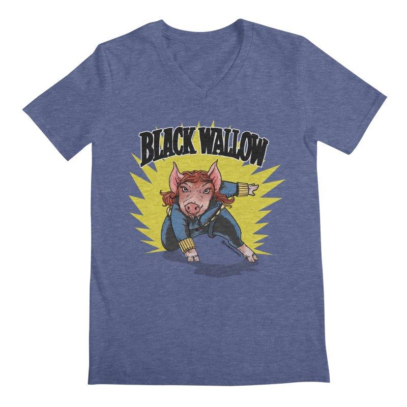 Black Wallow Men's V-Neck by Pigment World Artist Shop