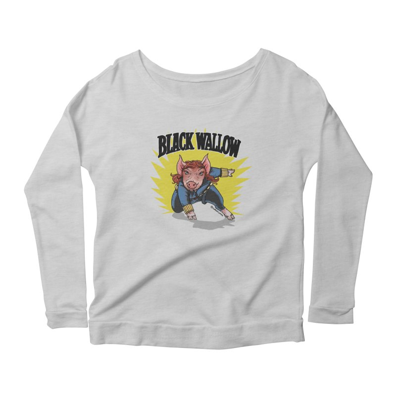 Black Wallow Women's Longsleeve Scoopneck  by Pigment World Artist Shop