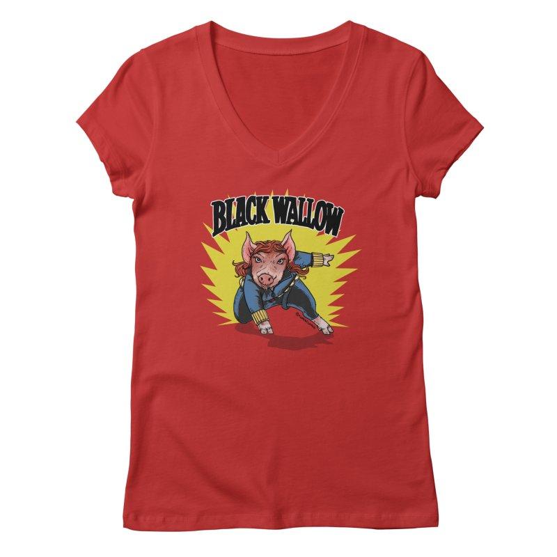 Black Wallow Women's V-Neck by Pigment World Artist Shop