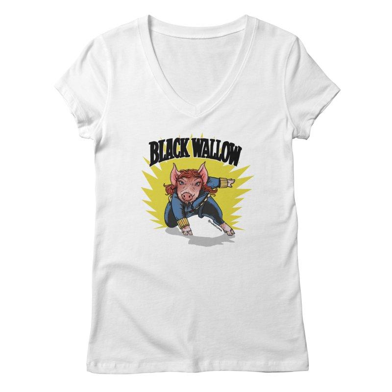 Black Wallow Women's Regular V-Neck by Pigment World Artist Shop