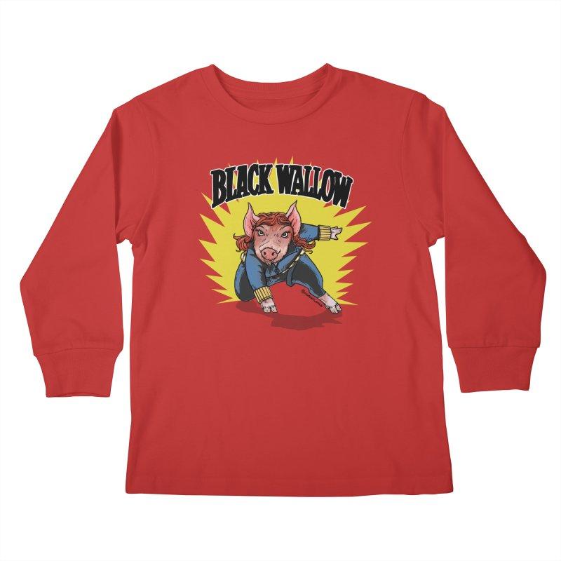 Black Wallow Kids Longsleeve T-Shirt by Pigment World Artist Shop