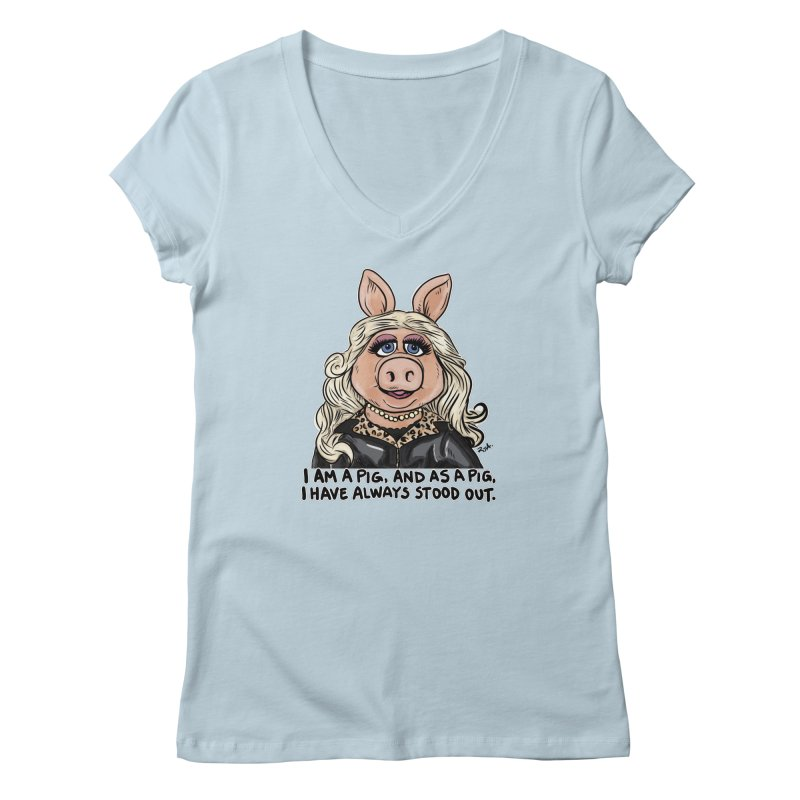 Piggy Fabulous Women's V-Neck by Pigment World Artist Shop