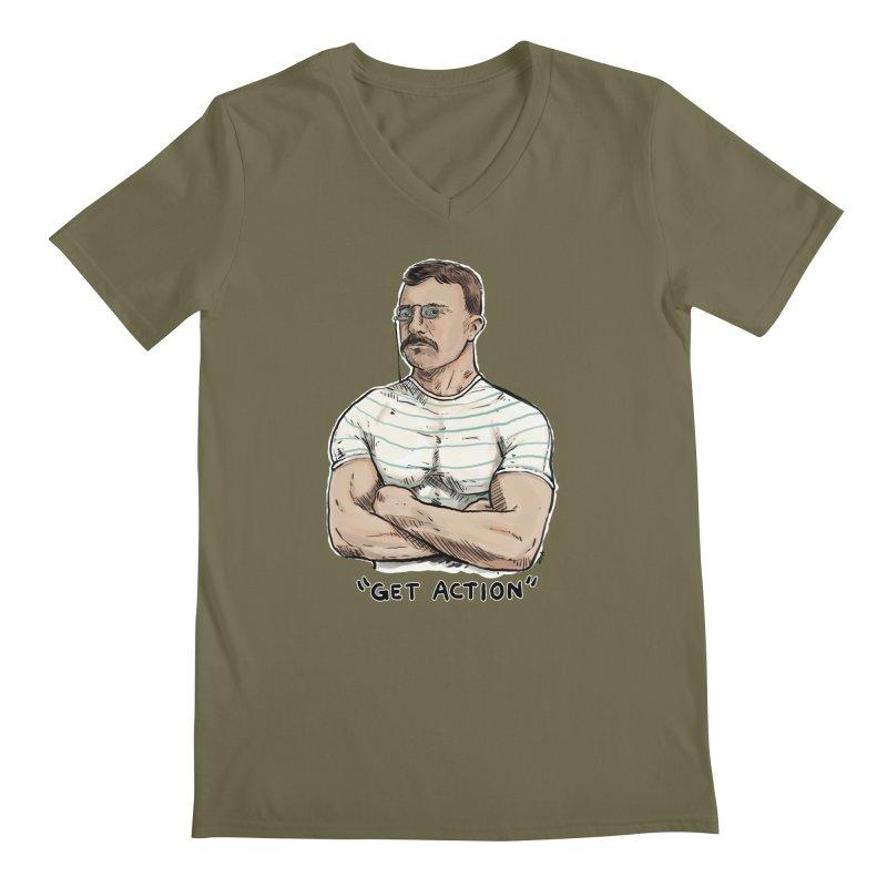 Get Action Men's Regular V-Neck by Pigment World Artist Shop