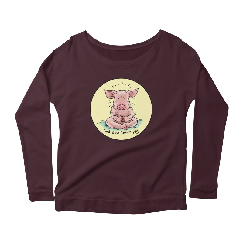 Inner Pig (Color)  Women's Scoop Neck Longsleeve T-Shirt by Pigment World Artist Shop