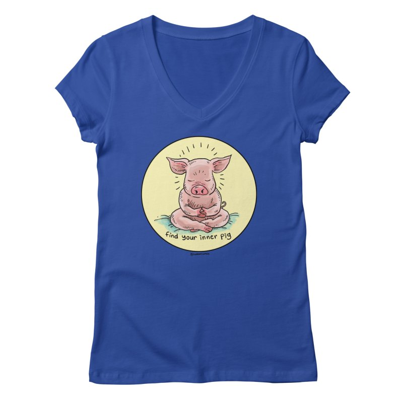 Inner Pig (Color)  Women's Regular V-Neck by Pigment World Artist Shop