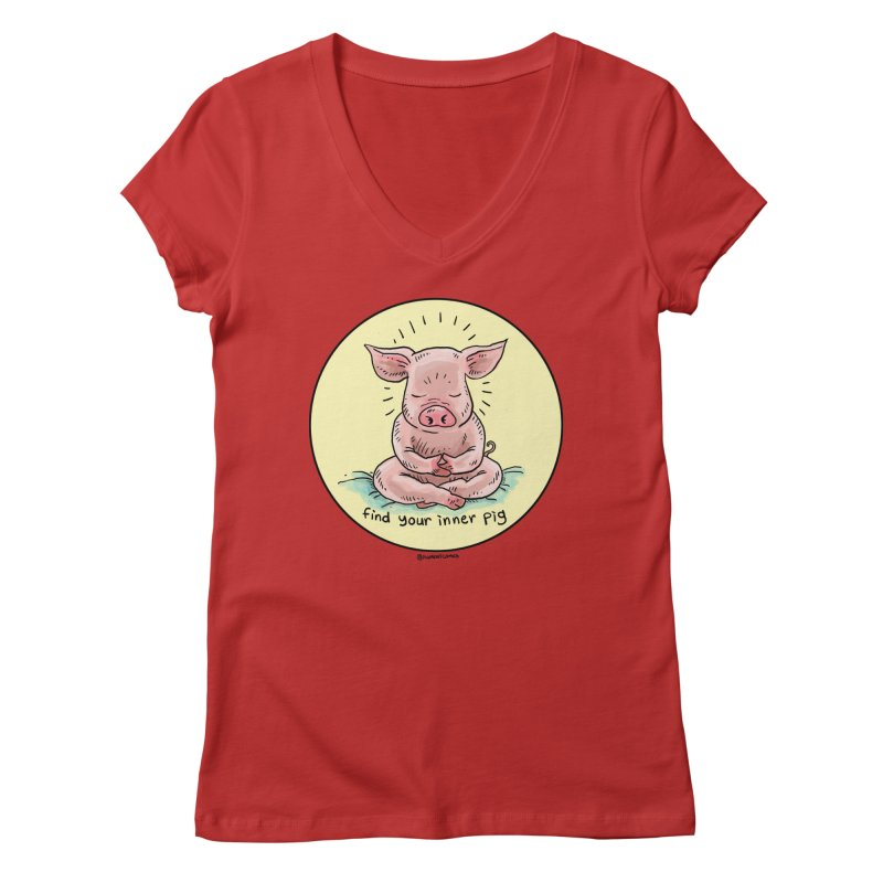 Inner Pig (Color)  Women's Regular V-Neck by Pigment World Artist Shop