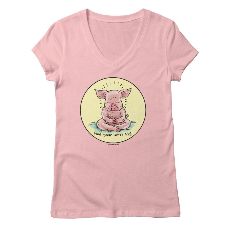 Inner Pig (Color)  Women's V-Neck by rjamadoart's Artist Shop