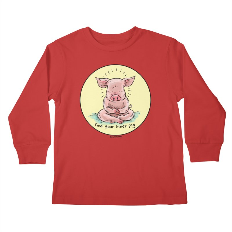 Inner Pig (Color)  Kids Longsleeve T-Shirt by Pigment World Artist Shop