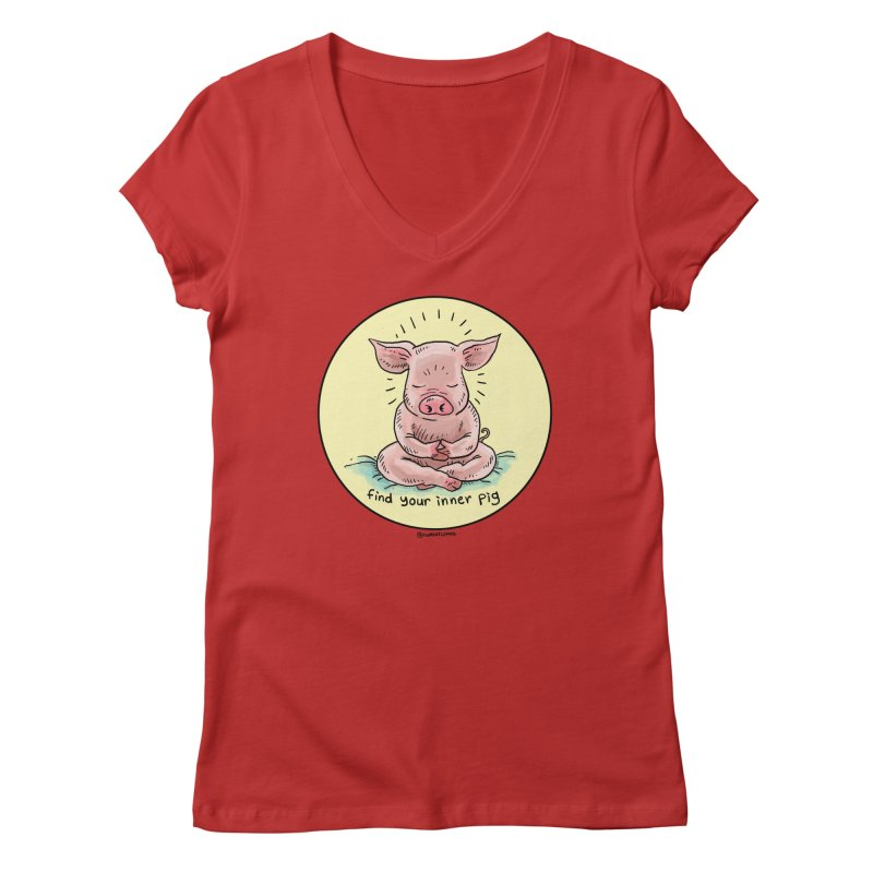 Inner Pig (Color)  Women's V-Neck by Pigment World Artist Shop