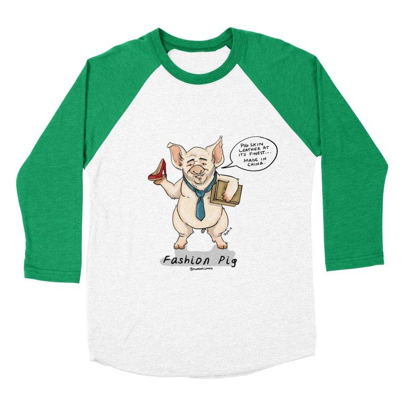 Fashion Pig  Men's Baseball Triblend Longsleeve T-Shirt by Pigment World Artist Shop