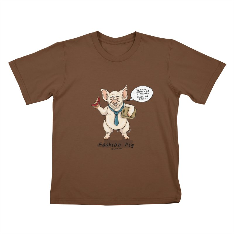 Fashion Pig  Kids T-Shirt by Pigment World Artist Shop