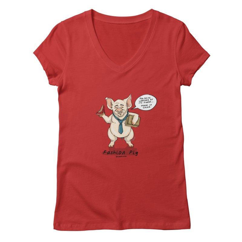 Fashion Pig  Women's Regular V-Neck by Pigment World Artist Shop