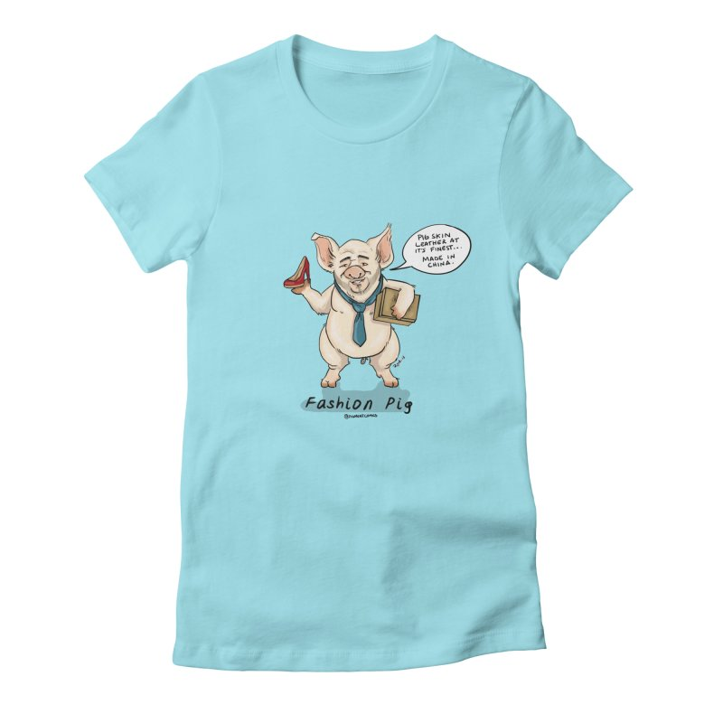 Fashion Pig  Women's Fitted T-Shirt by rjamadoart's Artist Shop