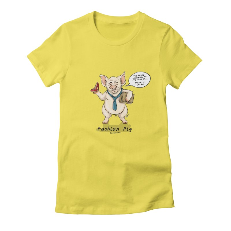Fashion Pig  Women's T-Shirt by Pigment World Artist Shop
